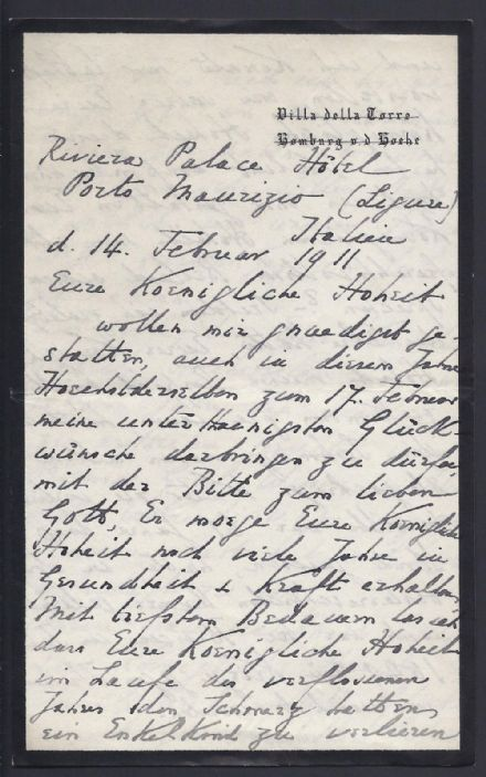 Count Conrad von Zeppelin 1911 to Princess Hohenzollern Signed Autograph Letter